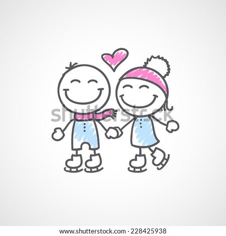 hand drawn skaters couple on white background - stock photo