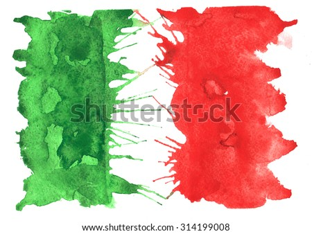 hand-drawn sketch - Flag of Italy , with the characteristic watercolor streaks , stains and splashes - stock photo