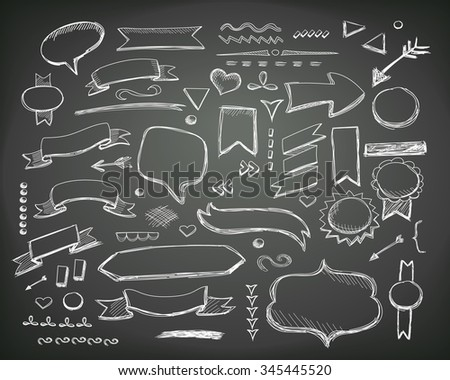 Hand drawn sketch hand drawn elements.  chalkboard illustration.