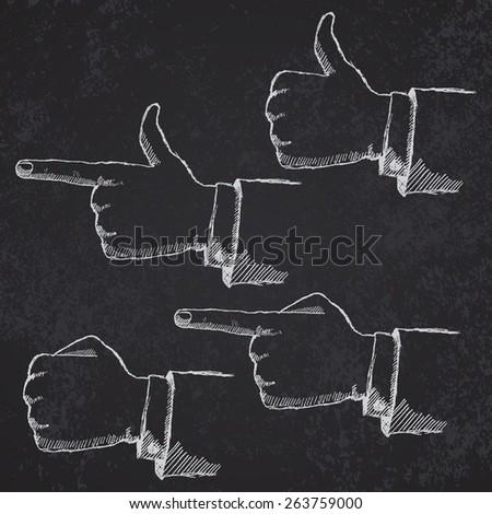 Hand drawn sketch hands set on blackboard. - stock photo