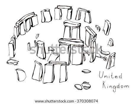 Hand drawn sketch illustration architecture landmark of Stonehenge United Kingdom with lettering isolated - stock photo