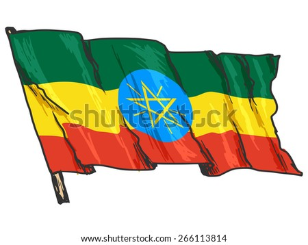 hand drawn, sketch, illustration of flag of Ethiopia