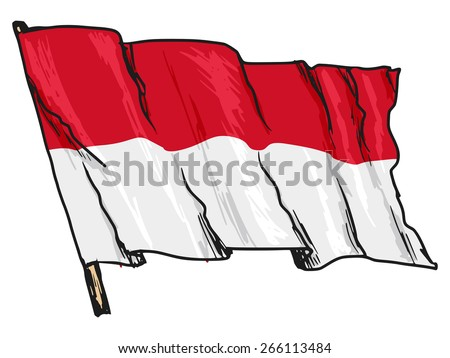 hand drawn, sketch, illustration of flag of Monaco