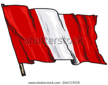 hand drawn, sketch, illustration of flag of Peru - stock photo