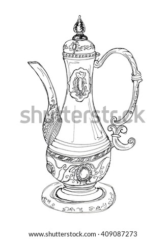 Hand drawn sketch illustration on paper of teapot(carafe) in oriental style with patterns isolated on white
