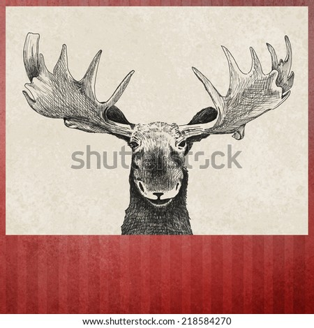 hand drawn sketch moose illustration on red striped Christmas background, fun vintage artwork, blank footer title space, beige paper insert, faded old distressed vintage texture design line element - stock photo