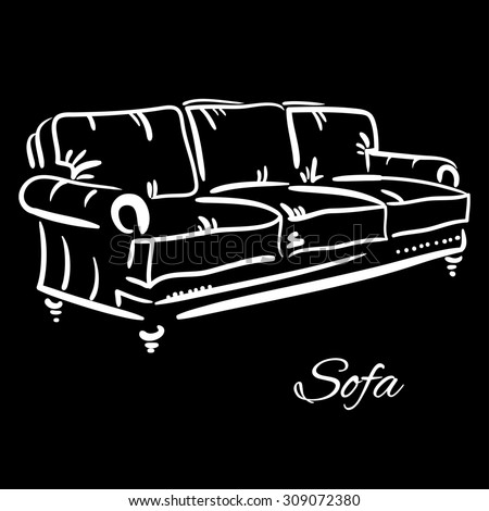 Hand drawn sketch of a leather couch. Elegant furniture. - stock photo