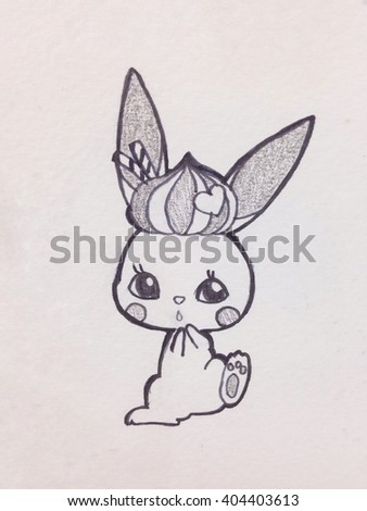 Hand drawn sketch of cute rabbit, Vintage filter