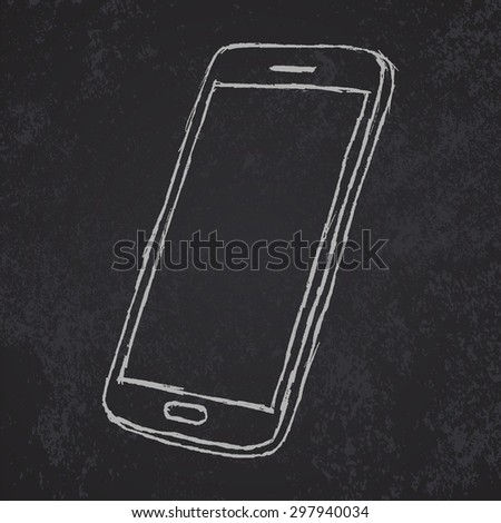 Hand drawn sketch of mobile phone outlined on blackboard .raster - stock photo
