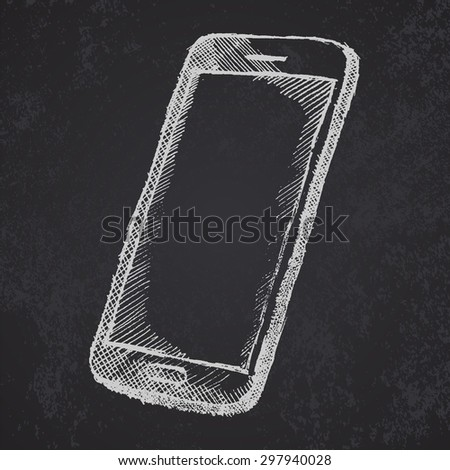 Hand drawn sketch of mobile phone with shadow on blackboard. raster - stock photo