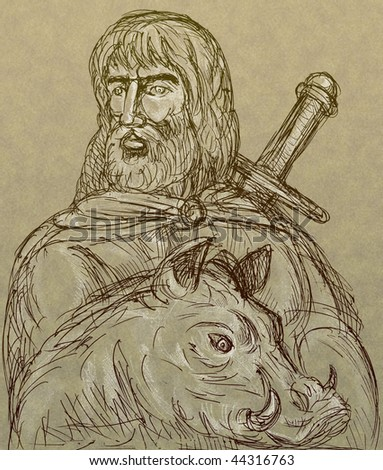 hand drawn sketch of Norse god of agriculture with sword and boar