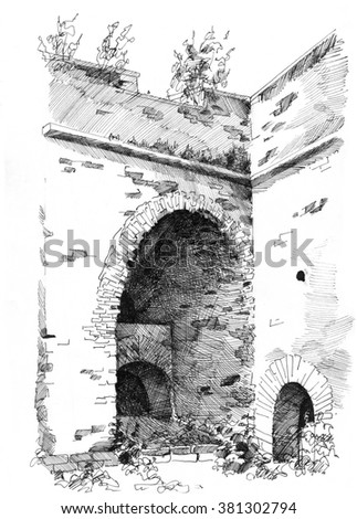 Hand-drawn sketch of old castle ruins - stock photo
