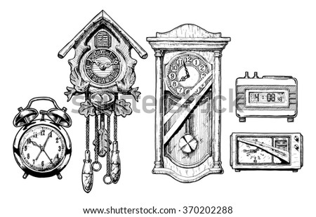 hand drawn sketch of old clocks set in ink hand drawn style. Alarm clock, Cuckoo clock, pendulum clock, digital alarm clock and radio clock.  - stock photo