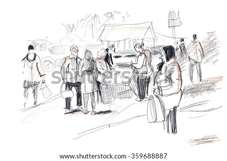 Hand drawn sketch of passers people