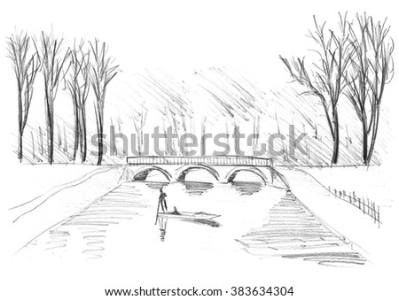 Hand drawn sketch of punting on River Cam in Cambridge - stock photo