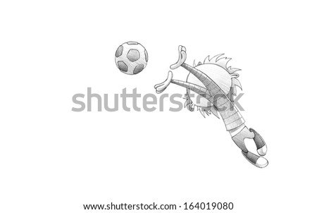 Hand-drawn Sketch, Pencil Illustration, Drawing of Child Soccer Player Goalkeeper Faulting Toward the Football | High Resolution Scan, Decent Copy Space - stock photo
