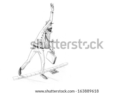 Hand-drawn Sketch, Pencil Illustration, Drawing of Man calling for a cab in a rush| High Resolution Scan, Decent Copy Space - stock photo