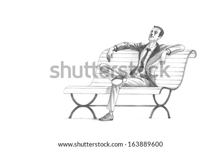 Hand-drawn Sketch, Pencil Illustration, Drawing of Young Entrepreneur taking a relaxing break on a bench | High Resolution Scan, Decent Copy Space - stock photo