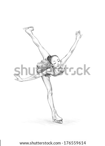 Hand-drawn Sketch, Pencil Illustration of a Figure Skater Woman  - stock photo