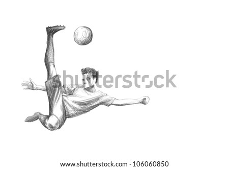 Hand-drawn Sketch, Pencil Illustration of a Football, Soccer Player | High Resolution Scan, Decent Copy Space - stock photo