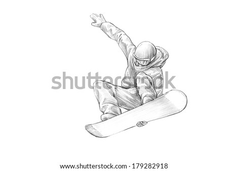 Hand-drawn Sketch, Pencil Illustration of a Snowboarder Mid Air - High Resolution Scan, Decent Copy Space - stock photo