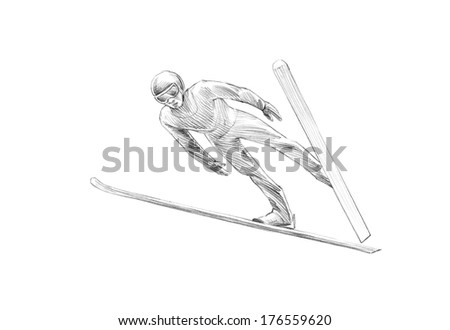 Hand-drawn Sketch, Pencil Illustration of Ski Jumper Mid Air  - stock photo