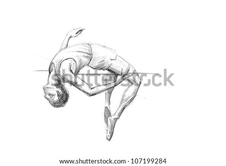 Hand-drawn Sketch, Pencil Illustration Olympic Games Athletes | High Jump | High Resolution Scan - stock photo