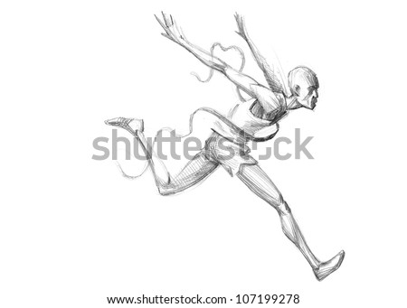 Hand-drawn Sketch, Pencil Illustration Olympic Games Athletes | Runner Crossing The Finish Line | High Resolution Scan - stock photo