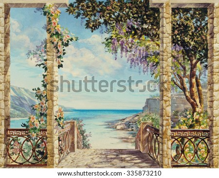 Hand drawn sketch with landscape. Watercolor hand drawn sketch with seascape. View from the terrace on the sea with flowering trees. View from arch on the sea. Descent to the sea - stock photo