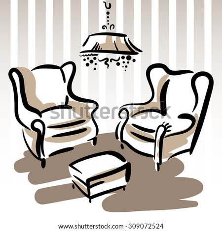 Hand drawn sketch with set of two armchairs, coffee table and luster on the white background with beige stripes.