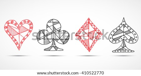 Hand drawn sketched Playing cards, poker, blackjack symbol, background, doodle hearts diamonds spades and clubs symbols. - stock photo