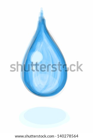 Hand drawn sketchy blue waterdrop falling onto a white surface