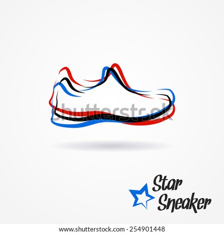 Hand drawn sketchy logo with stylized shoe and star - stock photo