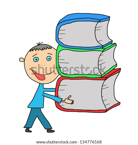 hand-drawn smart school boy carrying a stack of books. isolated on white background