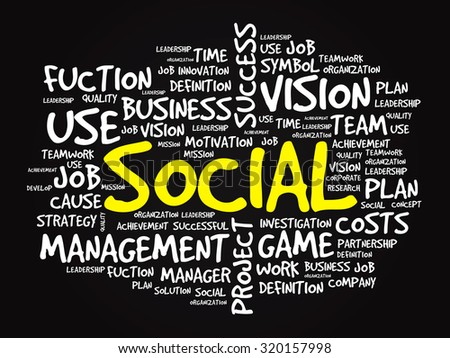 Hand drawn SOCIAL business concept in word tag cloud background - stock photo