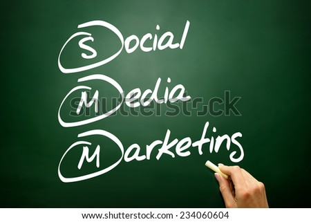 Hand drawn Social Media Marketing concept, business strategy on blackboard - stock photo