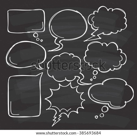 Hand drawn speech bubble doodle on black board - stock photo