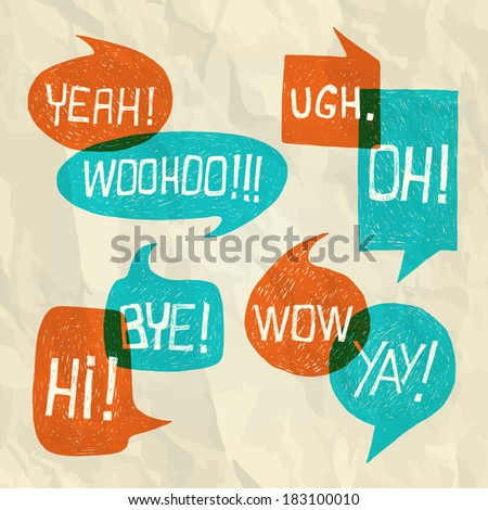 Hand drawn speech bubble set with short phrases (oh, hi, yeah, yay, bye, woohoo, wow, ugh) on paper texture background -  illustration