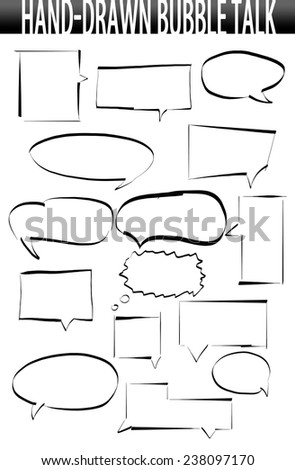 Hand drawn speech bubbles - stock photo