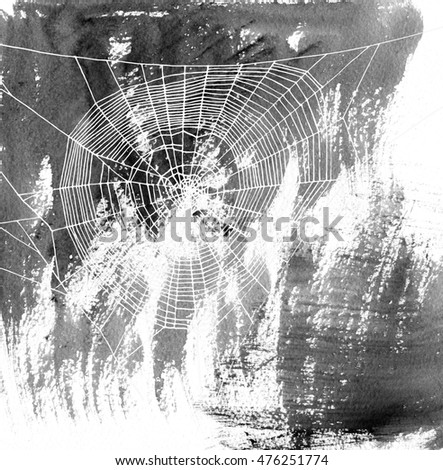 hand drawn spiderweb at black watercolor background, silhouette of web, hand drawn illustration, halloween template