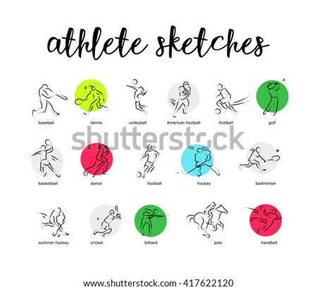 Hand drawn sport athlete silhouette isolated. Sportsman figure on white background. Human portrait. Dynamic moving illustration. Sketch. Ink drawing. - stock photo