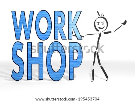 hand drawn stick man presents a workshop symbol white background - stock photo