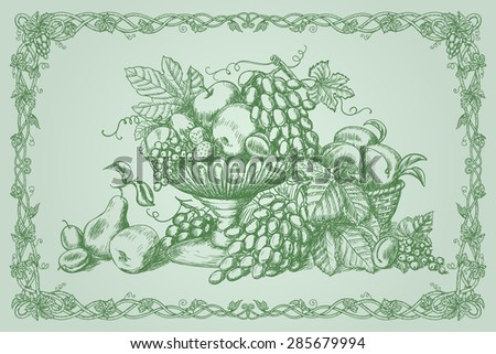 Hand drawn still life with fruits and decorative frame in vintage style - stock photo