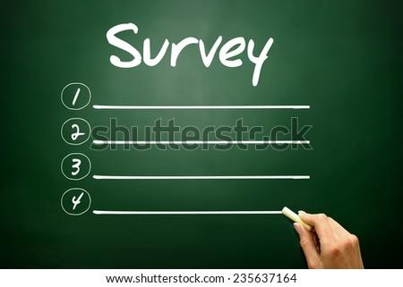 Hand drawn Survey blank list, business concept on blackboard - stock photo