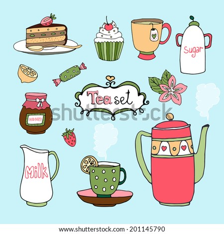 Hand-drawn tea set and cake icons with a kettle or teapot  cup and saucer  lemon  honey in a jar  cake  cupcake  candy  sugar bowl and milk jug on a blue background
