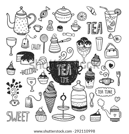 Hand drawn tea time collection, doodle set with teapots, glass, cupcake, decoration, tea, ice cream, cup and sweets - stock photo