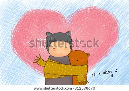 hand drawn teddy bear and child hugging together with sharing scarf. Big heart shape & strokes sky background. Idea of warm, togetherness, valentine, birthday, sharing, caring, sad concept wallpaper - stock photo