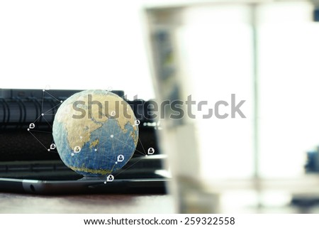 hand drawn texture globe with blank social media diagram on digital tablet computer as internet concept and bokeh exposure Elements of this image furnished by NASA - stock photo