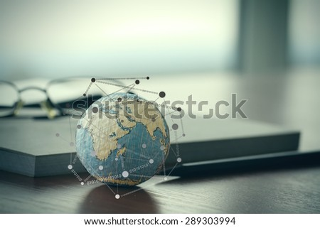 hand drawn texture globe with blank social media diagram on digital tablet computer as internet concept  - stock photo