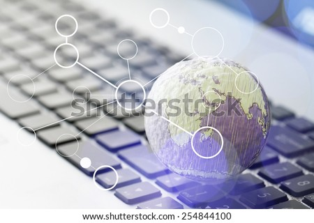 hand drawn texture globe with blank social media diagram on laptop computer as internet concept and bokeh exposure